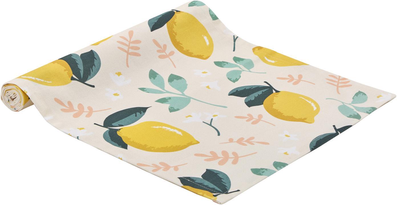 Tischläufer Lemon mit Zitronen-Motiv, Baumwolle, Beige, Gelb, Grün, 40 x 145 cm