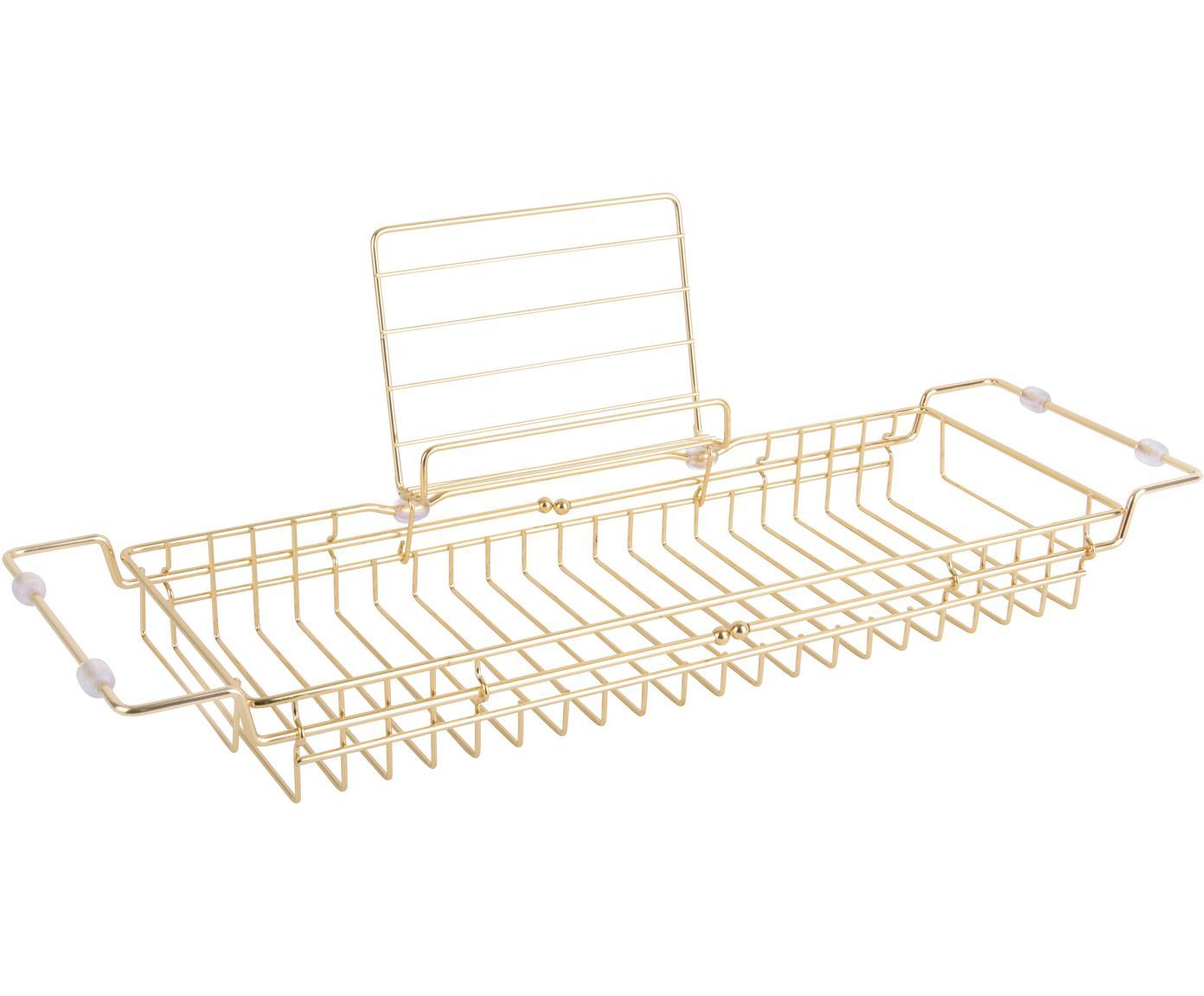 Estante de bañera Tubad, Metal recubierto, Dorado, An 61x Al 18 cm