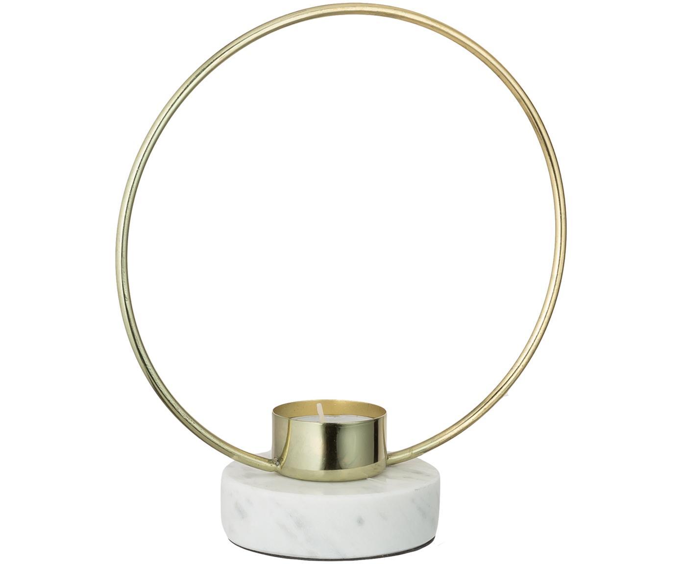 Kandelaar Ring, Voet: marmer, Goudkleurig, wit, 18 x 20 cm