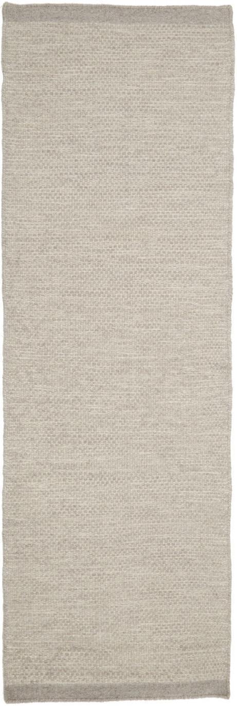 Passatoia in lana tessuta a mano Delight, Retro: cotone, Grigio chiaro, Larg. 80 x Lung. 250 cm