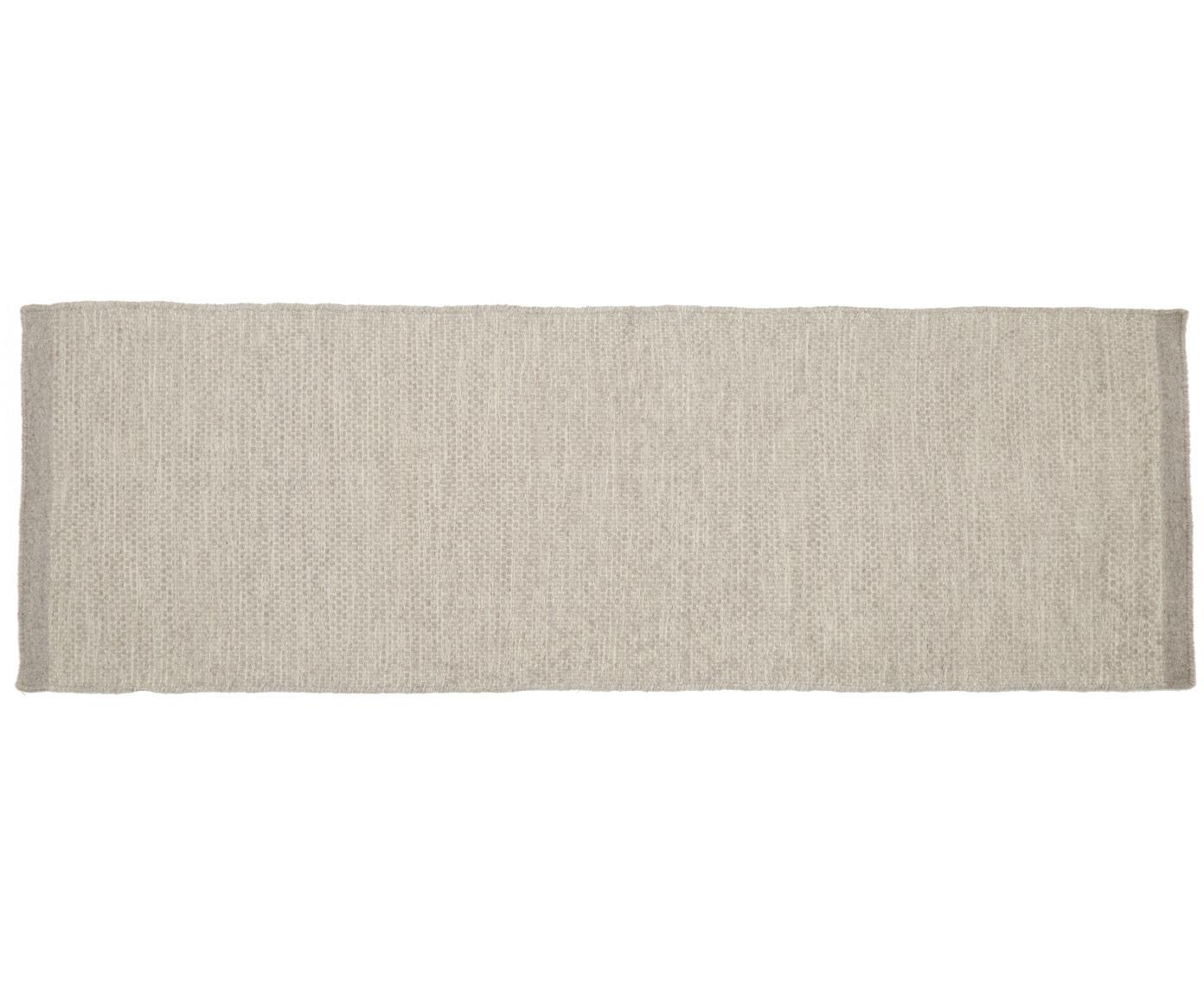 Handgeweven wollen loper Delight, Bovenzijde: 90% wol, 10% katoen, Onderzijde: katoen, Lichtgrijs, 80 x 250 cm