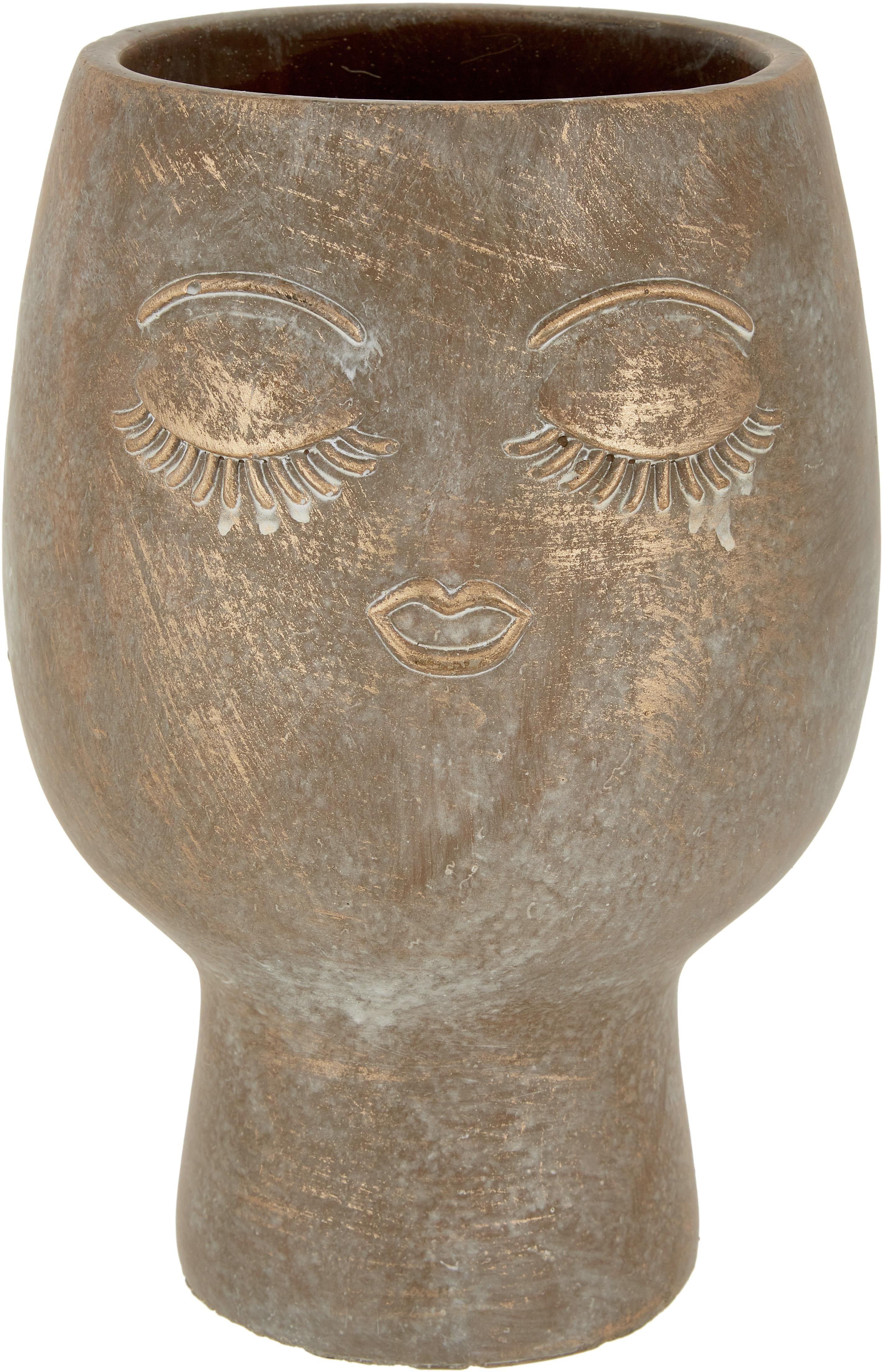 Portavaso in cemento Consi, Cemento, rivestito, Ottonato, Ø 18 x Alt. 25 cm