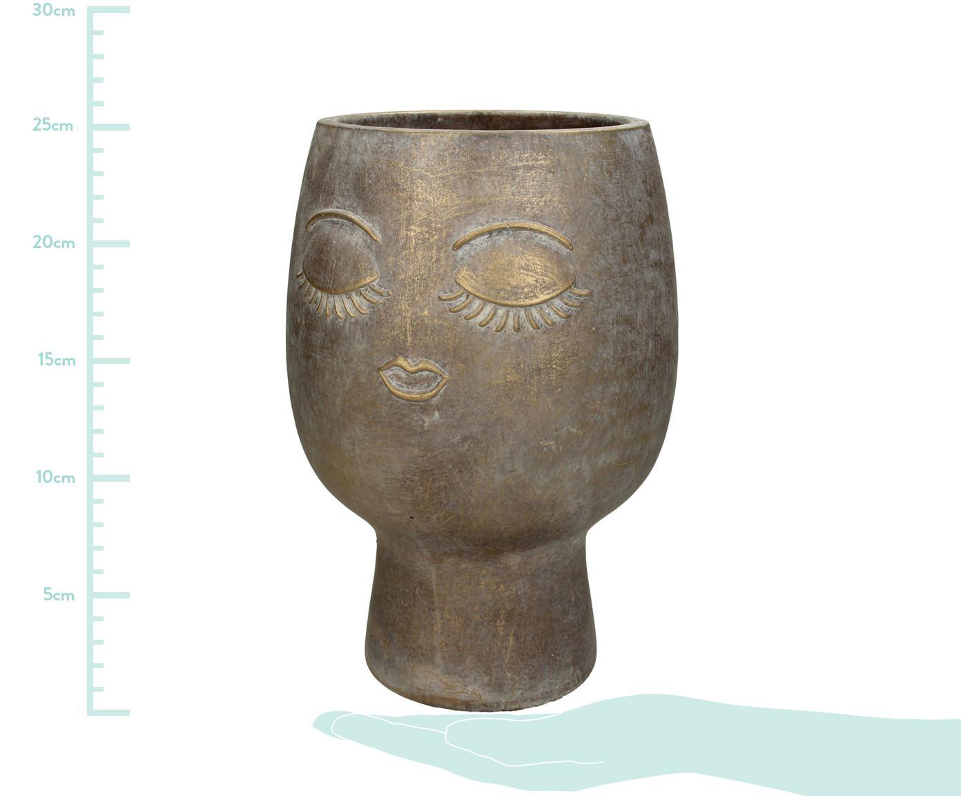Osłonka na doniczkę Consi, Cement powlekany, Odcienie mosiądzu, Ø 18 x W 25 cm