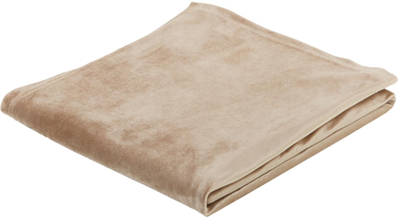 Mantel de terciopelo Simone, Terciopelo (100% poliéster), Beige, De 4 a 6 comensales (An 140 x L 200 cm)