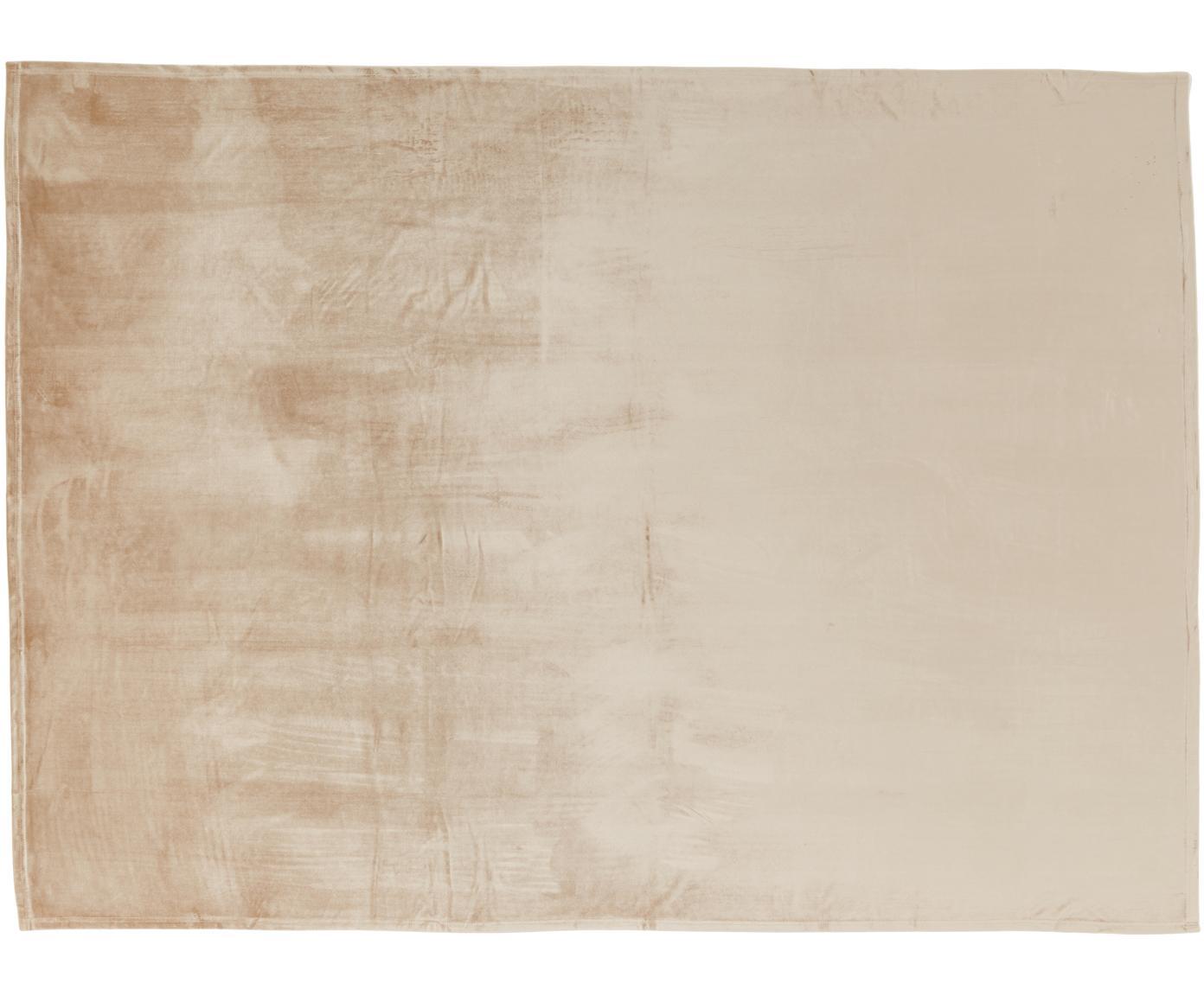 Obrus z aksamitu Simone, Aksamit poliestrowy, Beżowy, Dla 4-6 osób (S 140 x D 200 cm)