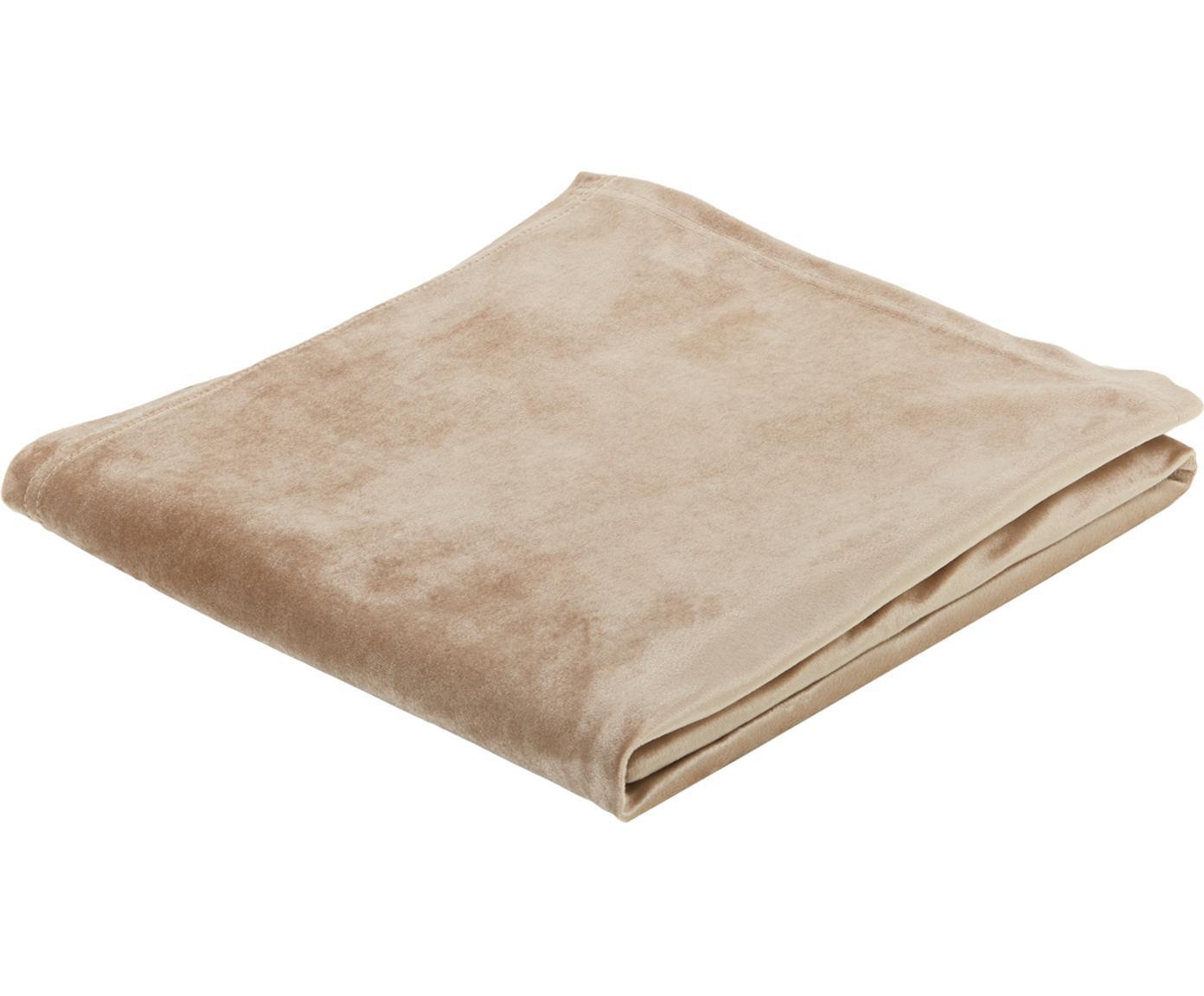 Fluwelen tafelkleed Simone, Polyesterfluweel, Beige, 145 x 145 cm