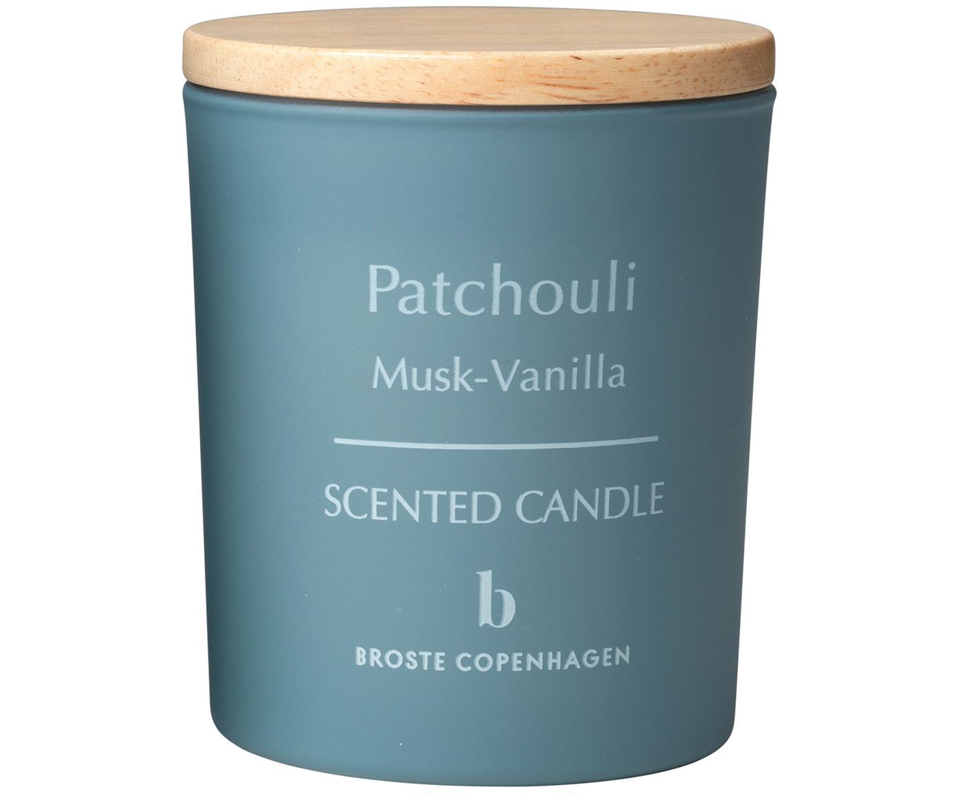 Duftkerze Patchouli (Moschus, Vanille), Behälter: Glas, Deckel: Holz, Blau, Hellbraun, Ø 7 x H 8 cm