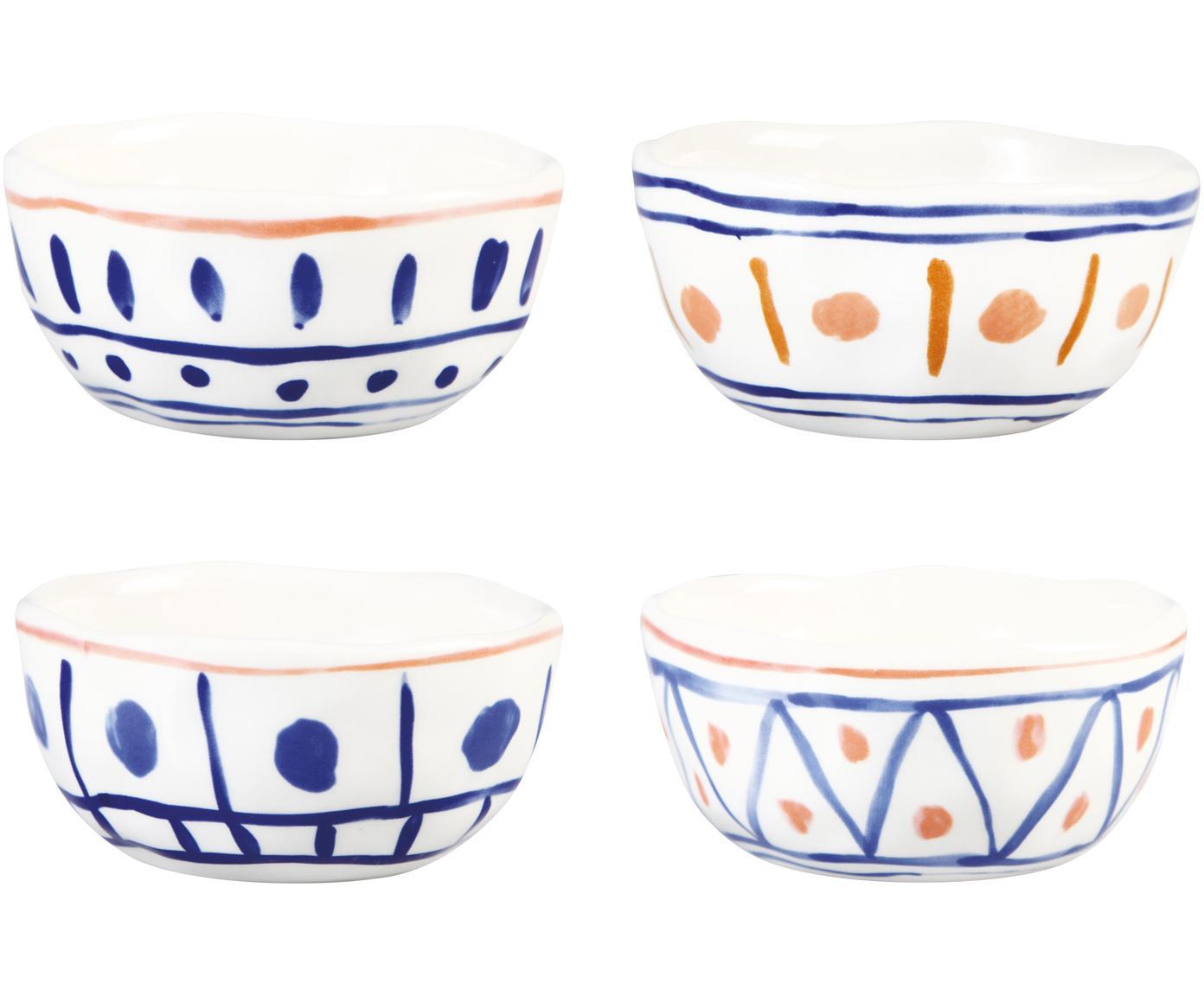 Set de cuencosde diseño Rafika, 4uds., Gres, Blanco, azul, naranja, amarillo, Ø 11 cm