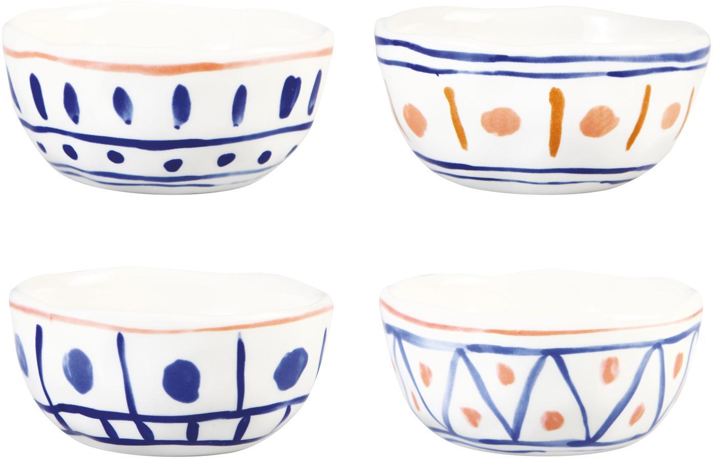 Bunt bemalte Schälchen Rafika im marokkanischen Design, 4er-Set, Steingut, Weiß, Blau, Orange, Gelb, Ø 11 cm