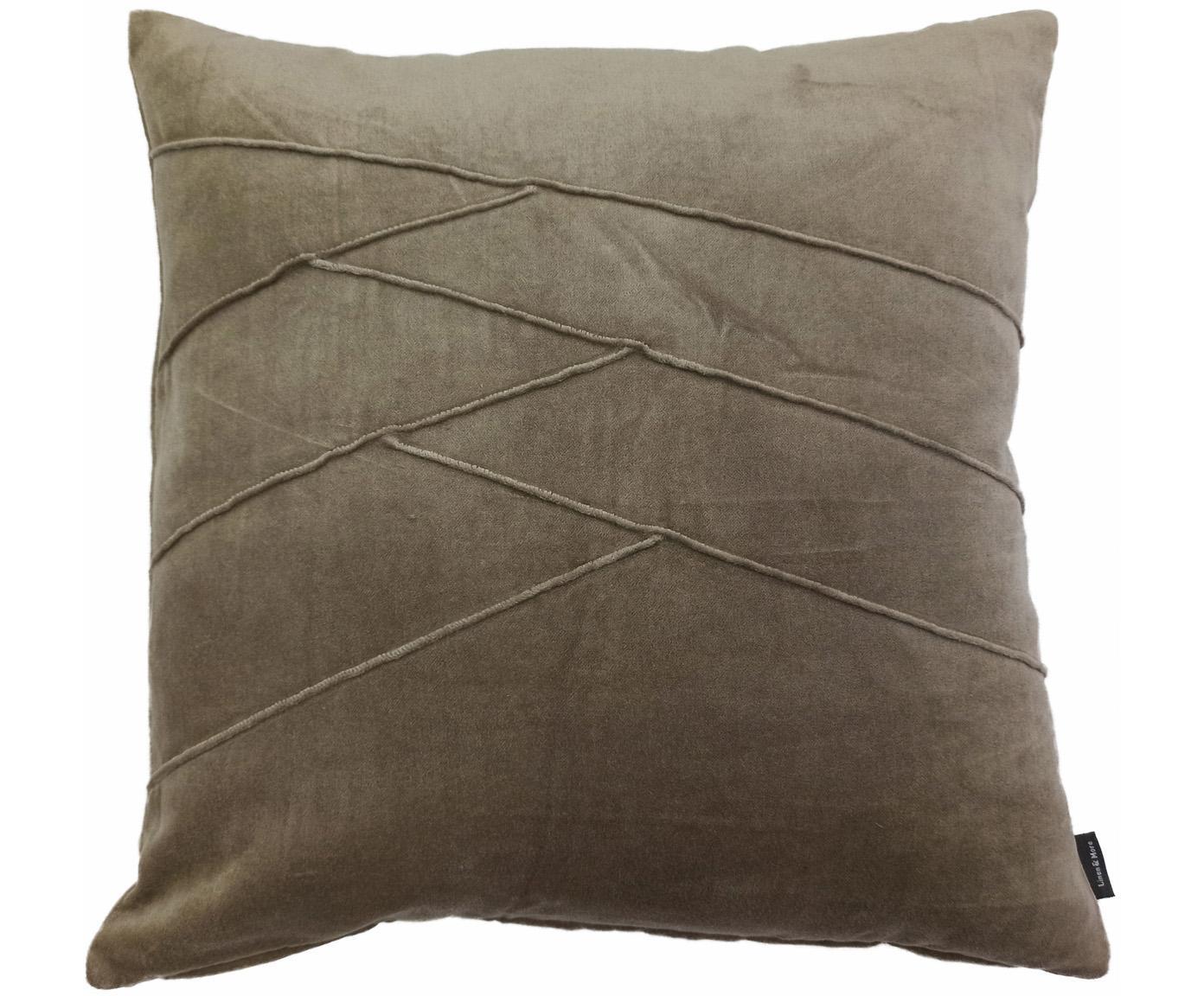 Fluwelen kussen Pintuck in taupe met verhoogd structuurpatroon, met vulling, Weeftechniek: fluweel, Taupe, 45 x 45 cm