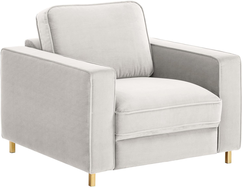 Samt-Sessel Chelsea, Bezug: Samt (Hochwertiger Polyes, Gestell: Massives Fichtenholz, Füße: Metall, beschichtet, Samt Hellgrau-Beige, 83 x 74 cm