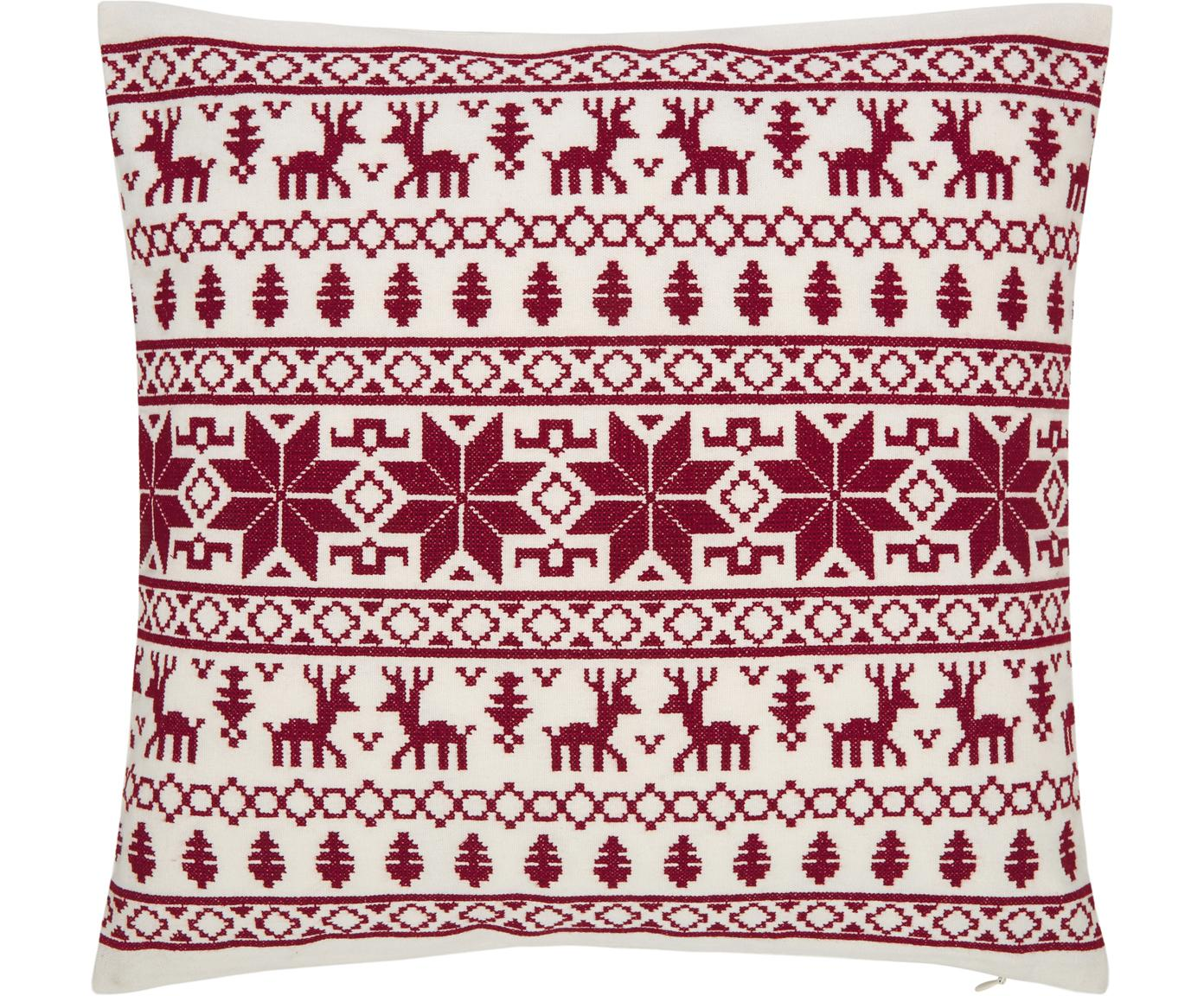 Bestickte Kissenhülle Orkney mit winterlichen Motiven, 100% Baumwolle, Rot, Cremeweiss, 45 x 45 cm