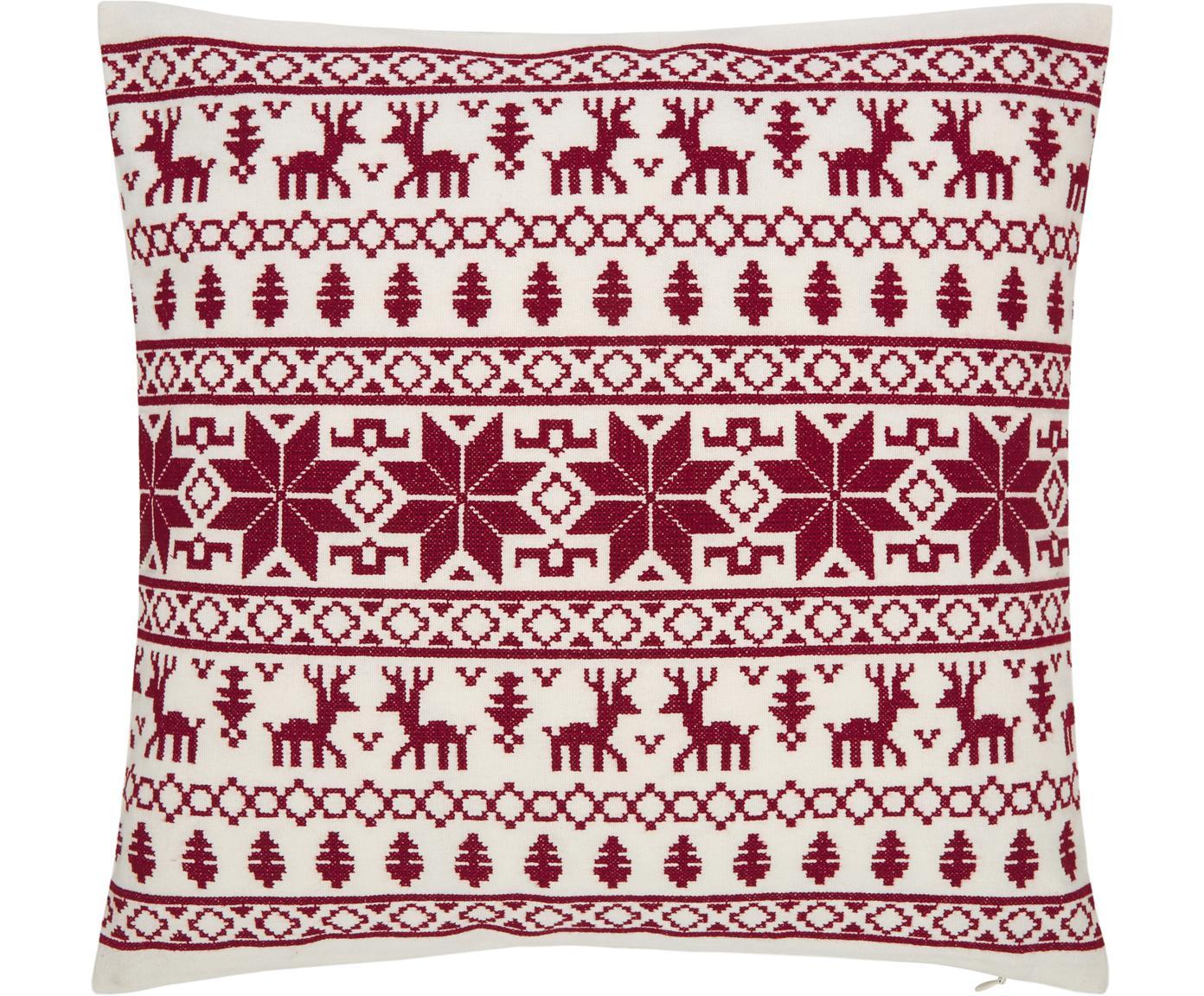 Kissenhülle Orkney mit winterlichen Motiven, 100% Baumwolle, Rot, Cremeweiß, 45 x 45 cm