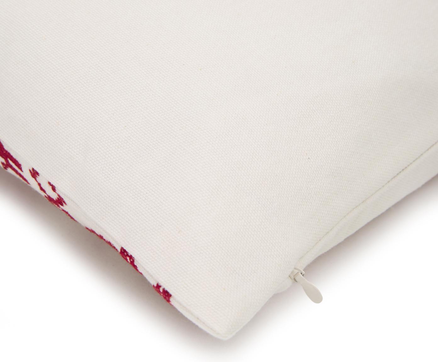 Funda de cojín bordada Orkney, 100%algodón, Rojo, blanco crema, An 45 x L 45 cm