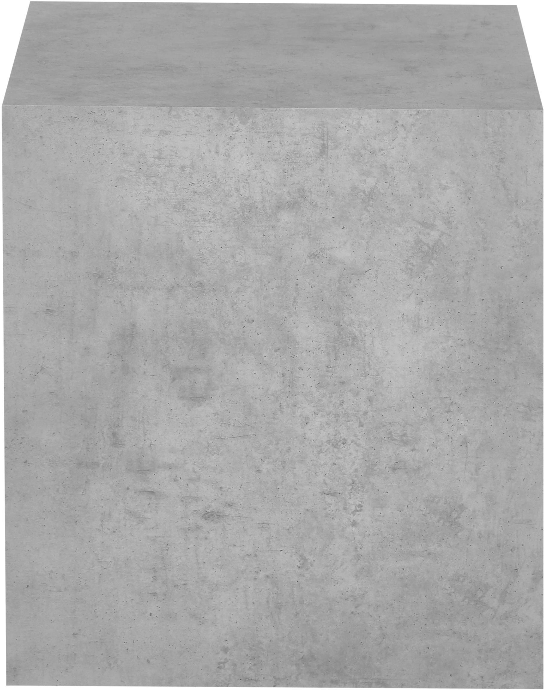 Beistelltisch Lesley in Betonoptik, Mitteldichte Holzfaserplatte (MDF), mit Melaminfolie überzogen, Grau, Betonoptik, 45 x 50 cm
