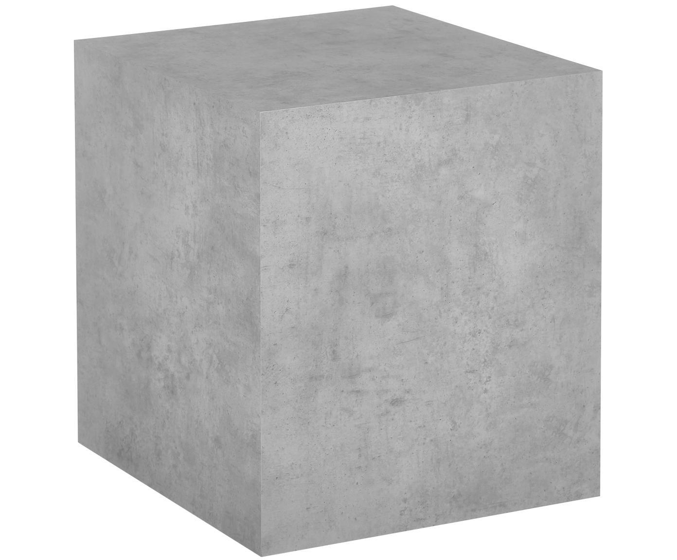 Tavolino grigio effetto cemento Lesley, Pannello di fibra a media densità (MDF) rivestito con foglio di melamina, Grigio, ottica cemento, Larg. 45 x Alt. 50 cm