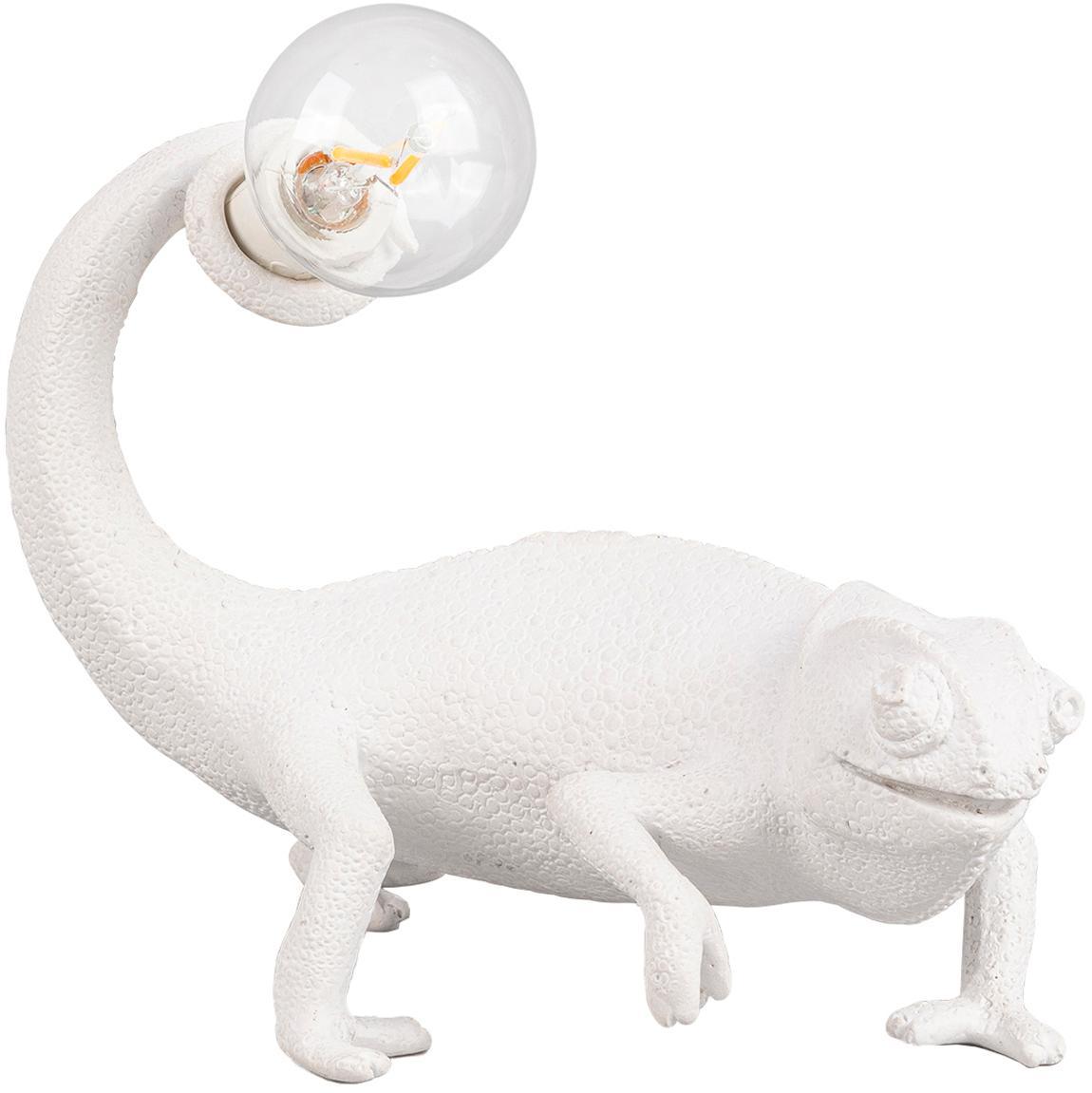Tafellamp Chameleon, Polyresin, Wit, 17 x 14 cm