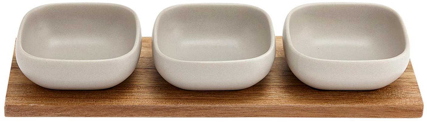 Set ciotole Essentials 4 pz, Vassoio: legno d'acacia, Beige, legno d'acacia, Set in varie misure