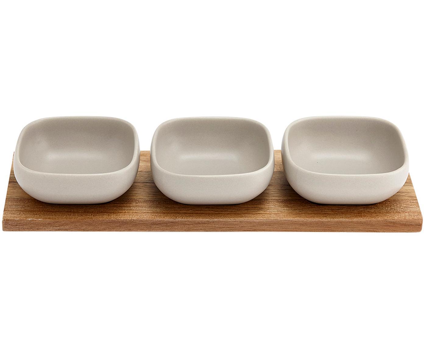 Set de cuencos de porcelana y madera Essentials, 4pzas., Cuencos: porcelana, Bandeja: madera de acacia, Blanco, acacia, Tamaños diferentes