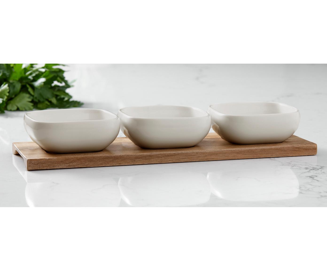 Schälchen Essentials aus Porzellan und Akazienholz, 4er-Set, Schälchen: Porzellan, Tablett: Akazienholz, Beige, Akazienholz, Sondergrößen