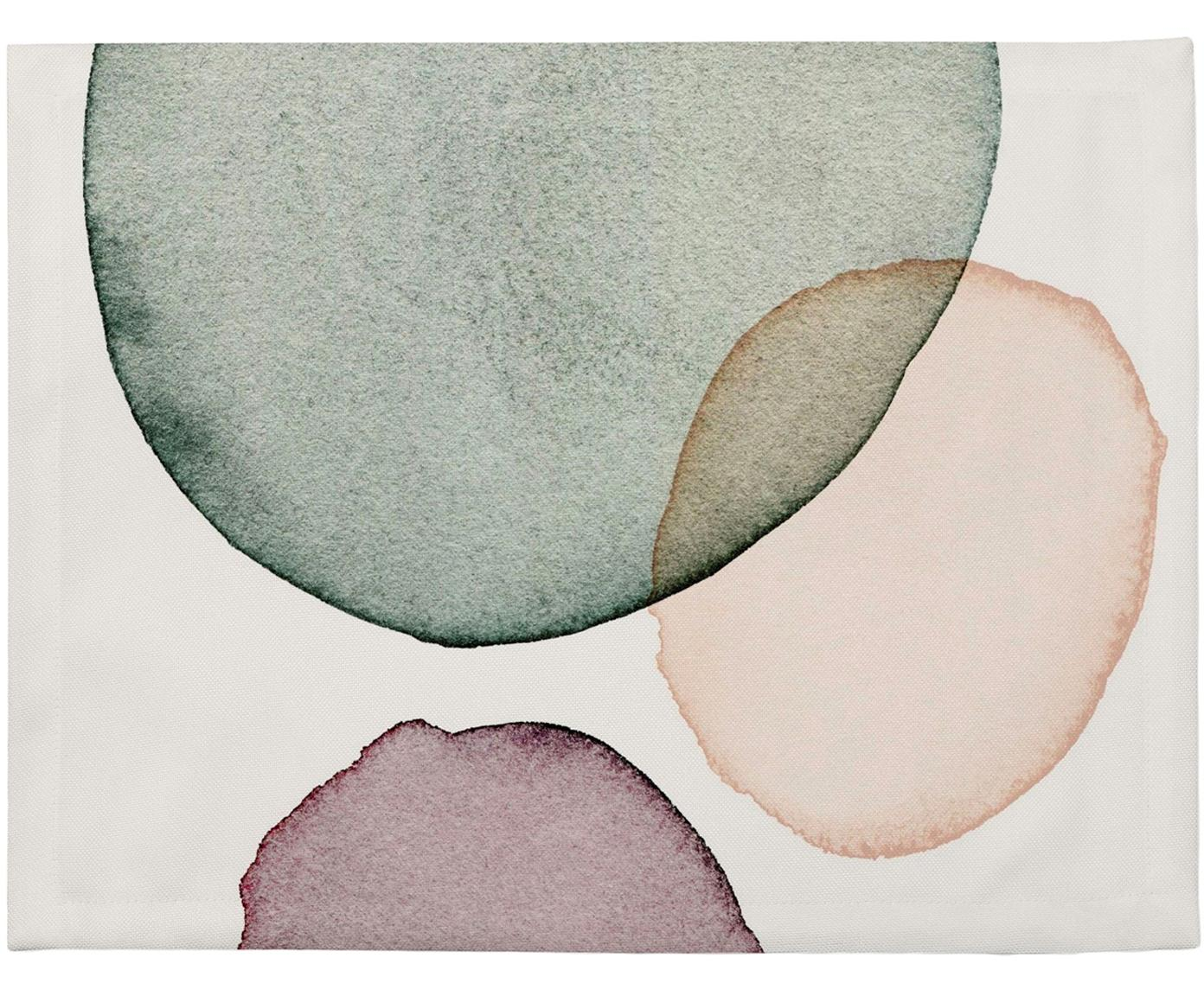 Manteles individuales Calm, 4uds., Poliéster, Blanco, verde, lila, salmón, An 35 x L 45 cm