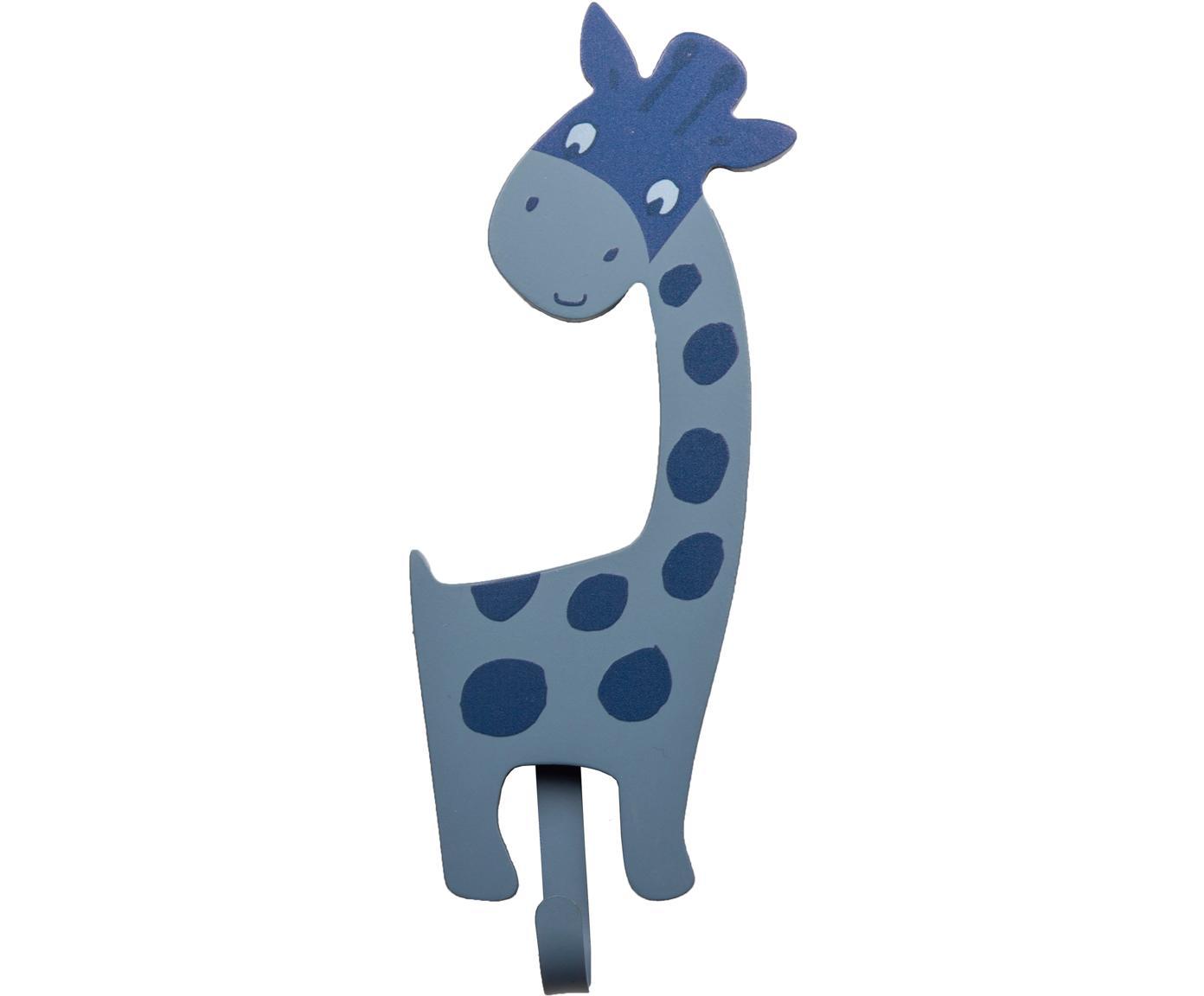 Ganchos de pared Giraffa, Tablero de fibras de densidad media (MDF), metal, Azul, An 9 x Al 23 cm