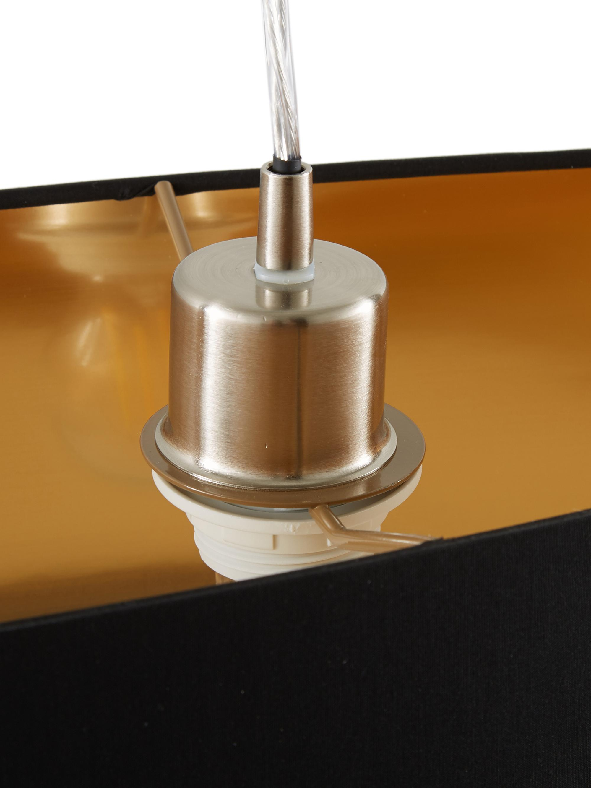 Ovale Pendelleuchte Jamie, Baldachin: Metall, vernickelt, Silberfarben,Schwarz, 78 x 22 cm