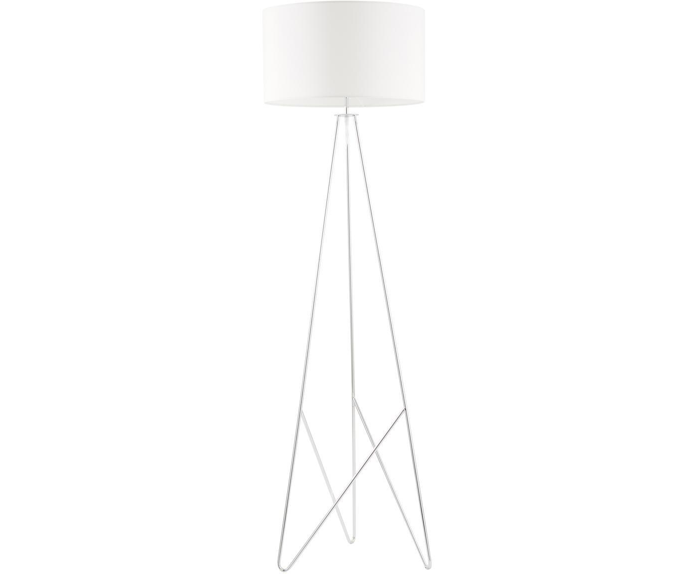 Vloerlamp Jessica, Lampenkap: textiel, Lampvoet: verchroomd metaal, Wit, chroomkleurig, Ø 45 x H 155 cm