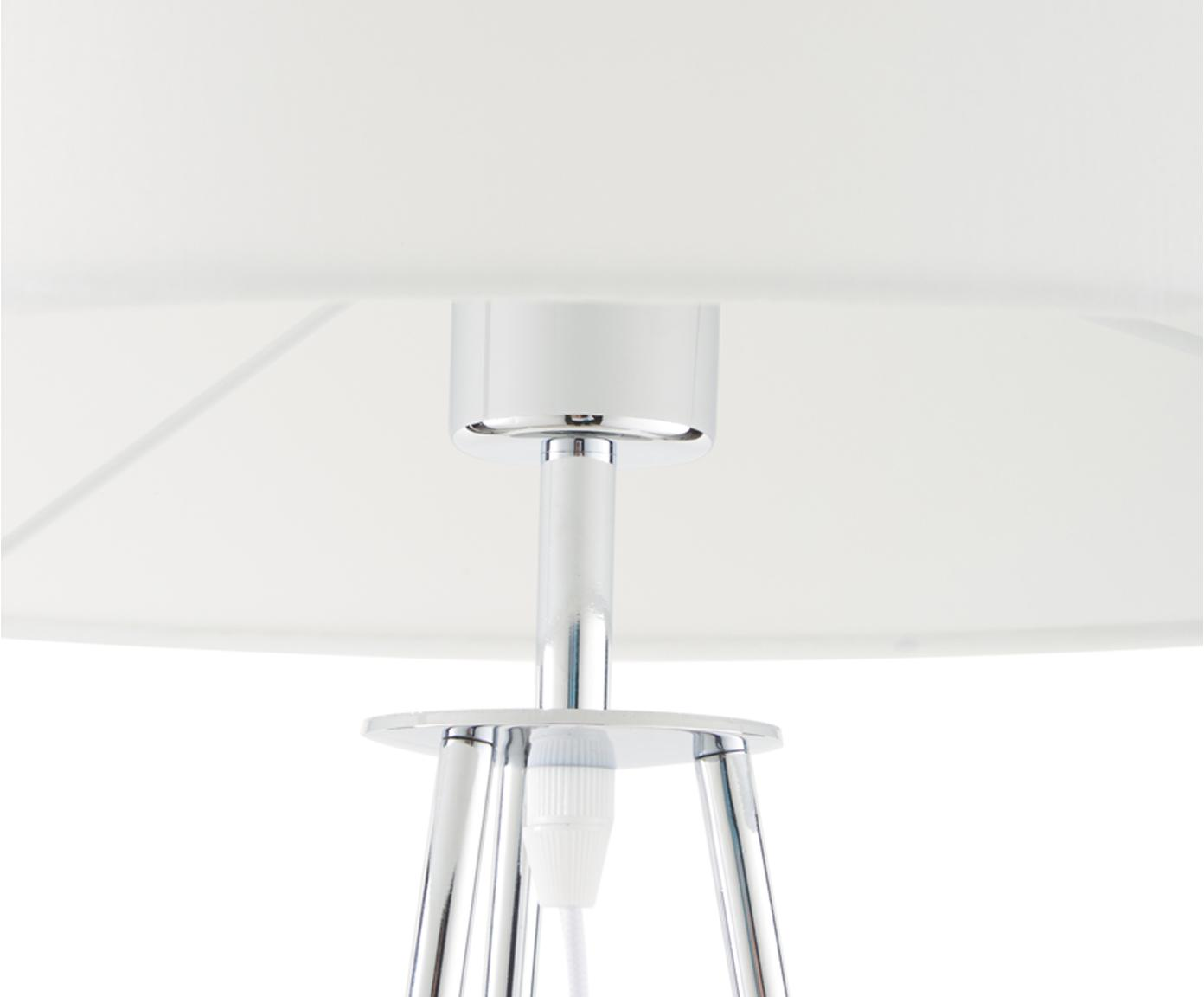 Stehlampe Jessica, Lampenschirm: Textil, Lampenfuß: Metall, verchromt, Weiß, Chrom, Ø 45 x H 155 cm