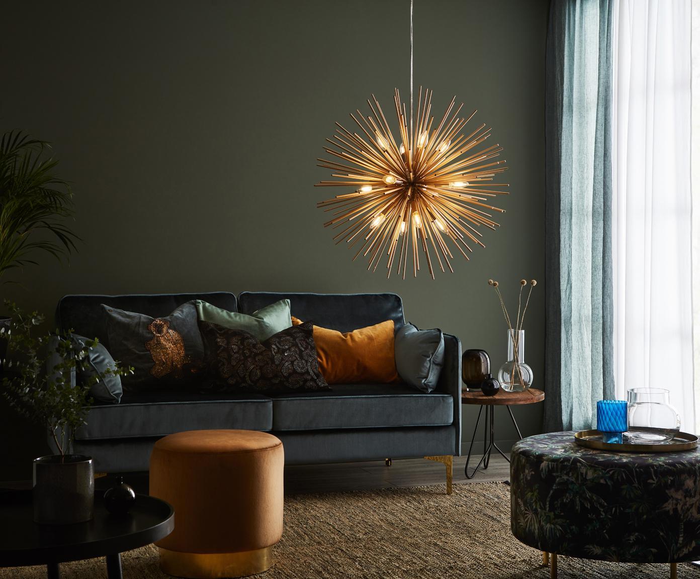 Lampa wisząca Soleil, Odcienie mosiądzu, Ø 72 x W 200 cm