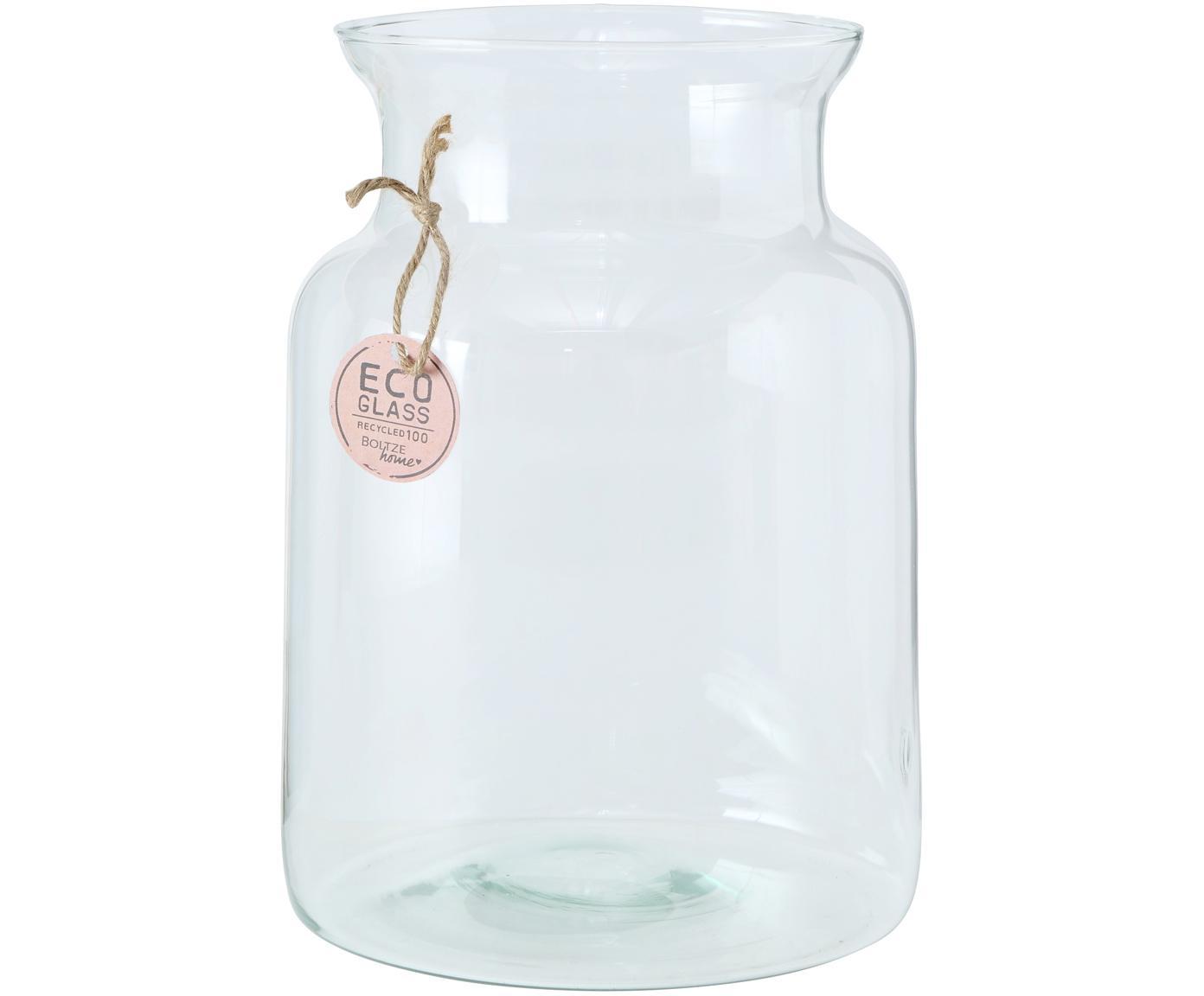 Handgemaakte vaas Eco van gerecycled glas, Gerecycled glas, Transparant, Ø 19 cm
