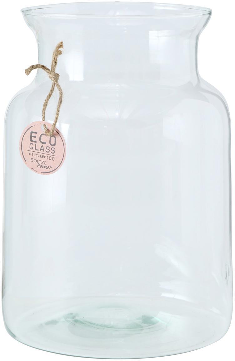 Handgefertigte Vase Eco aus recyceltem Glas, Recyceltes Glas, Transparent, Ø 19 x H 26 cm