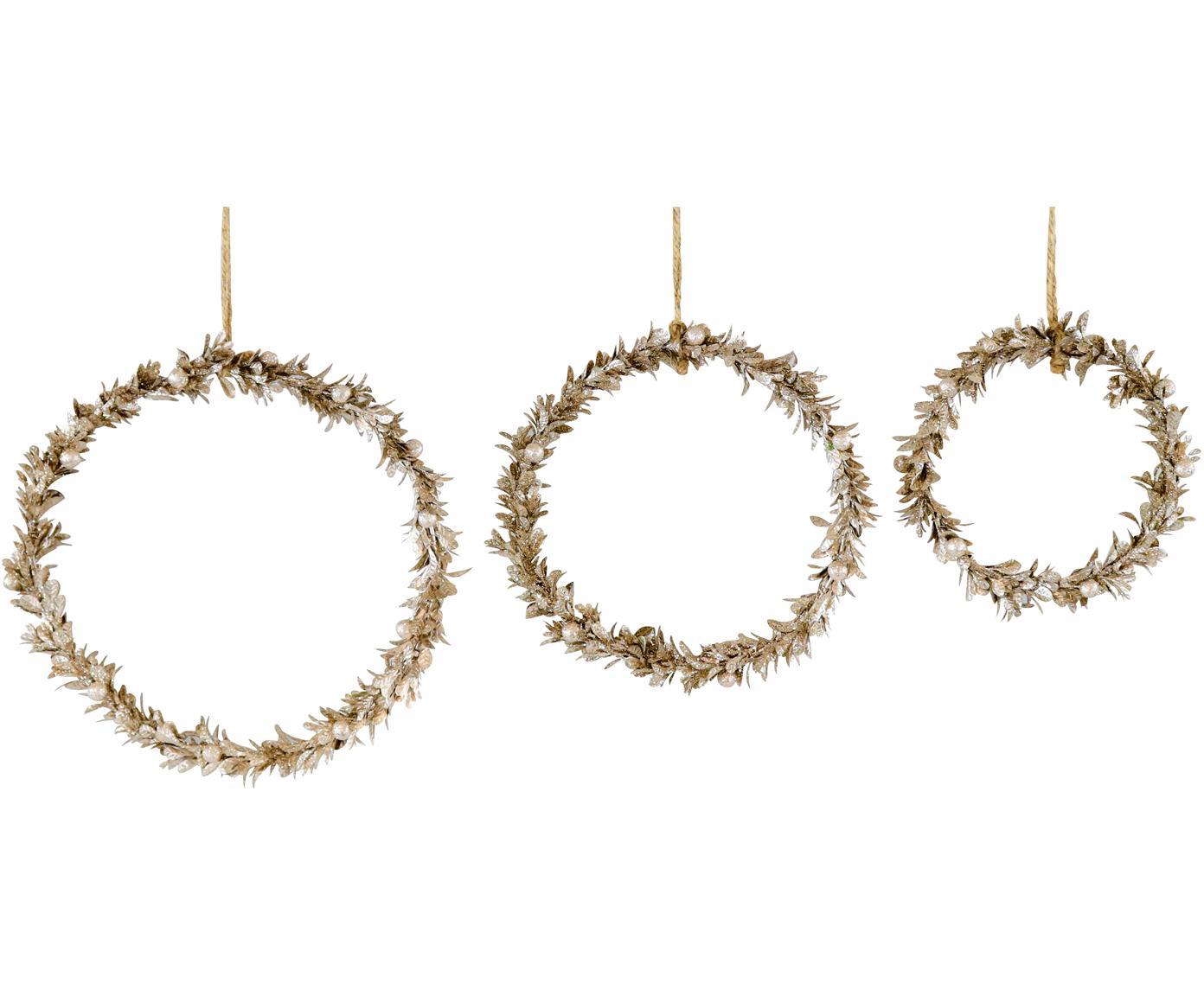 Decoratieve hangersset Laurel, 3-delig, Polystyreen, kunststof, metaal, hout, Goudkleurig, Verschillende formaten