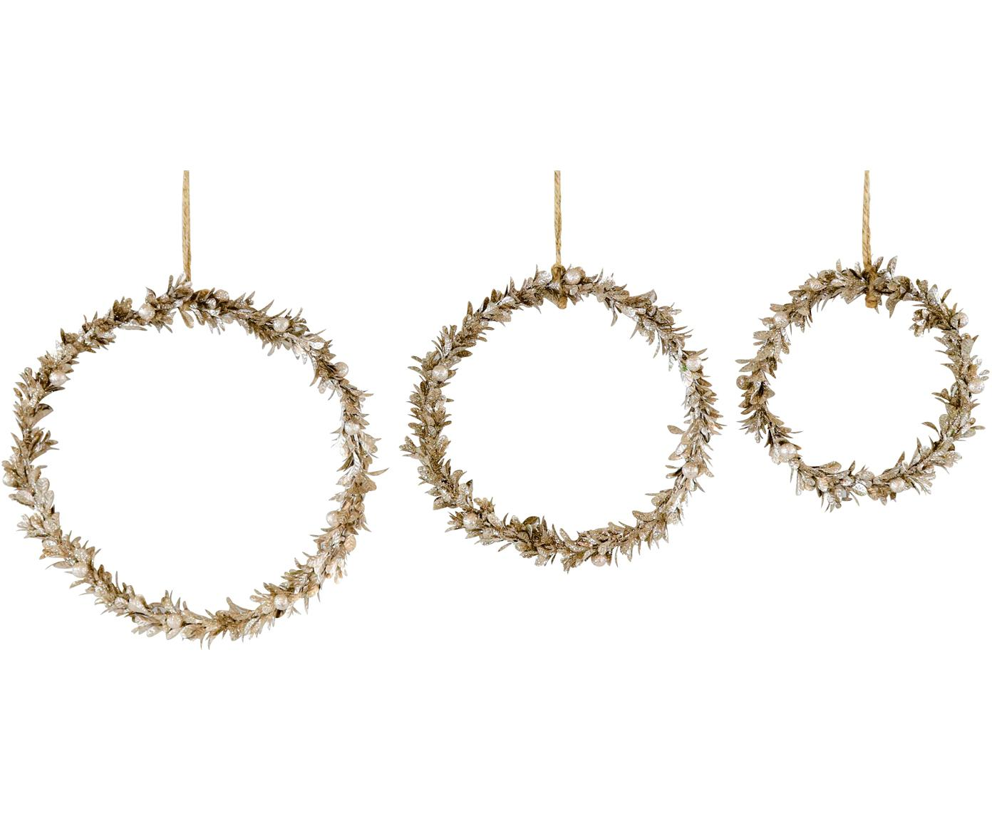 Set 3 ciondoli decorativi Laurel, Polistirolo, plastica, metallo, legno, Dorato, Set in varie misure