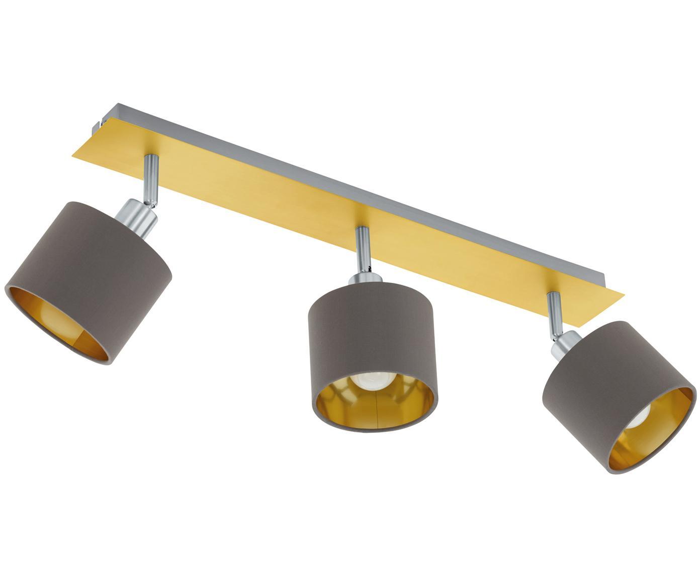 Faretti da soffitto Valbiano, Paralume: poliestere, Baldacchino: acciaio nichelato, ottone, Marrone, dorato, Larg. 56 x Alt. 20 cm