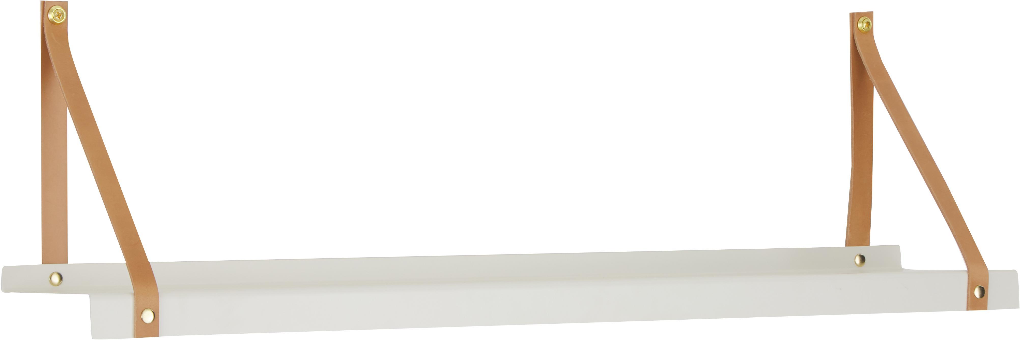 Wandplank Shelfie, Plank: gepoedercoat metaal, Riemen: leer, Wit, bruin, B 75 x D 15 cm