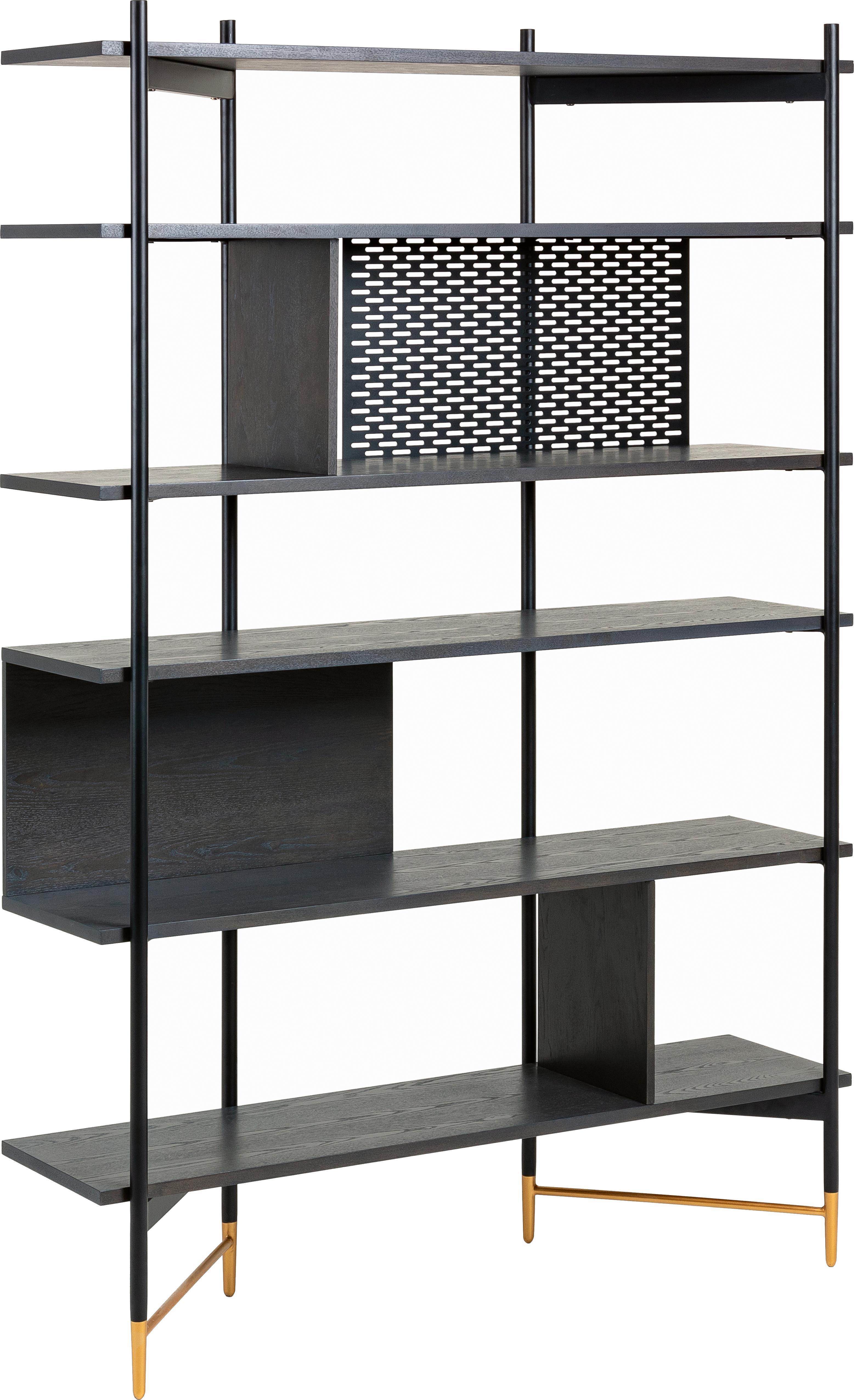 Scaffale a giorno nero Shelving, Struttura: metallo laccato, Ripiani: pannello di fibra a media, Nero, Larg. 120 x Alt. 177 cm