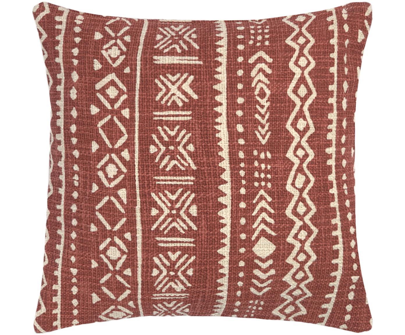 Federa arredo con motivo grafico Masai, Cotone, Bianco latteo, marrone, Larg. 45 x Lung. 45 cm