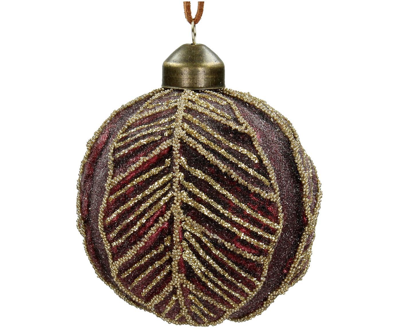 Kerstballen Leaf, 2 stuks, Glas, polyester, kunststof, Donkerrood, Ø 8 cm