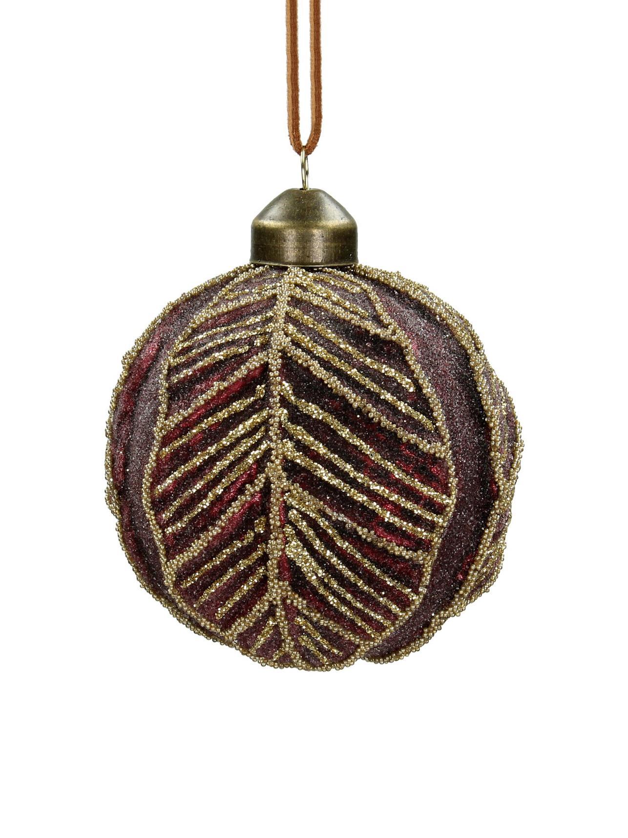 Weihnachtskugeln Leaf Ø8cm, 2Stück, Glas, Polyester, Kunststoff, Dunkelrot, Ø 8 cm