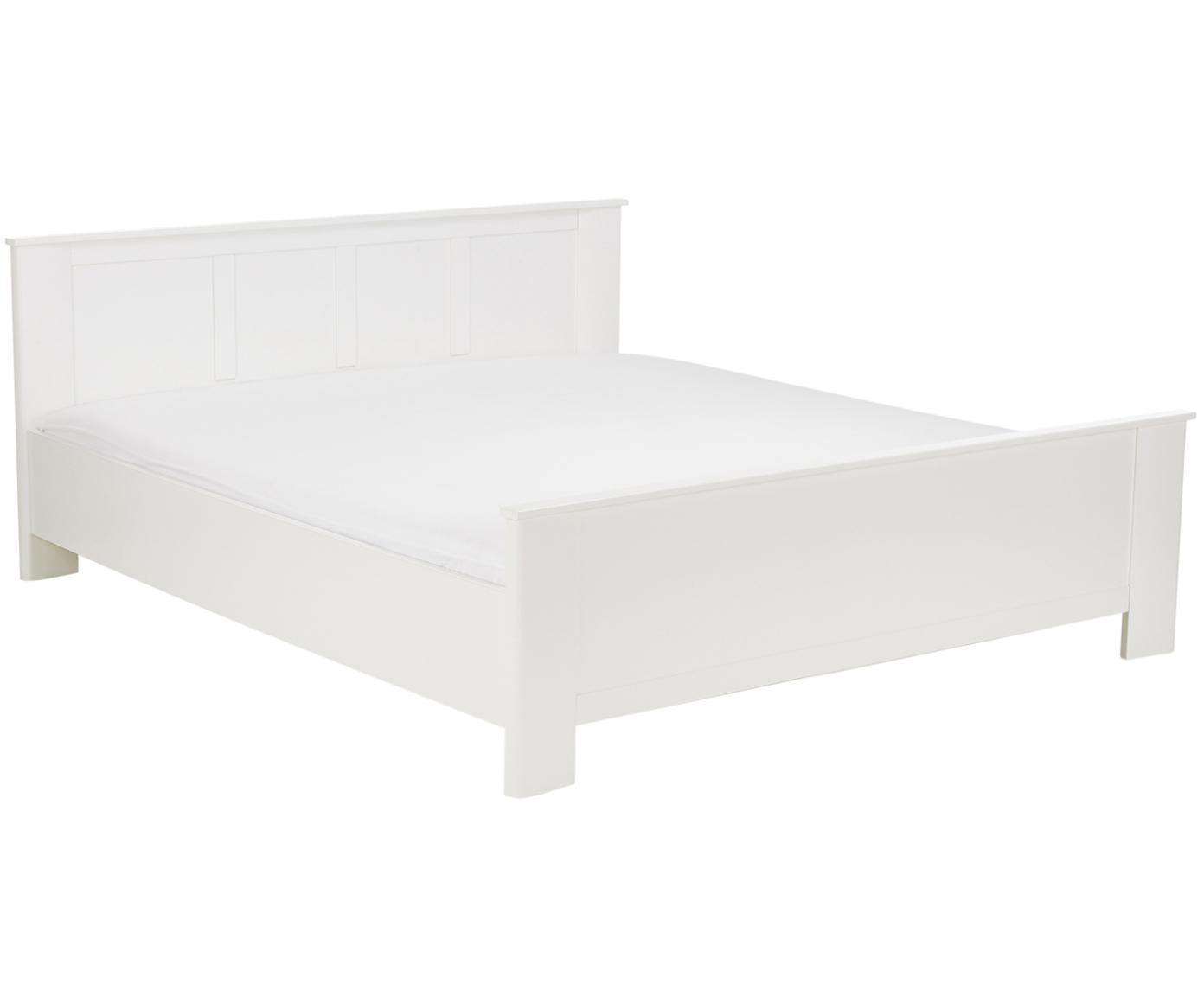 Weißes Holzbett Chalet, Spanplatte, foliert, Weiß, 180 x 200 cm