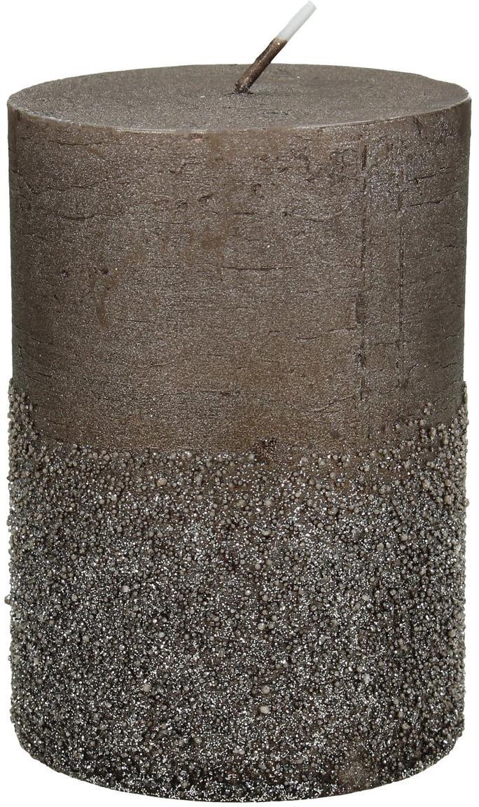 Candela pilastro Glitters, Cera, Marrone, Ø 7 x Alt. 10 cm