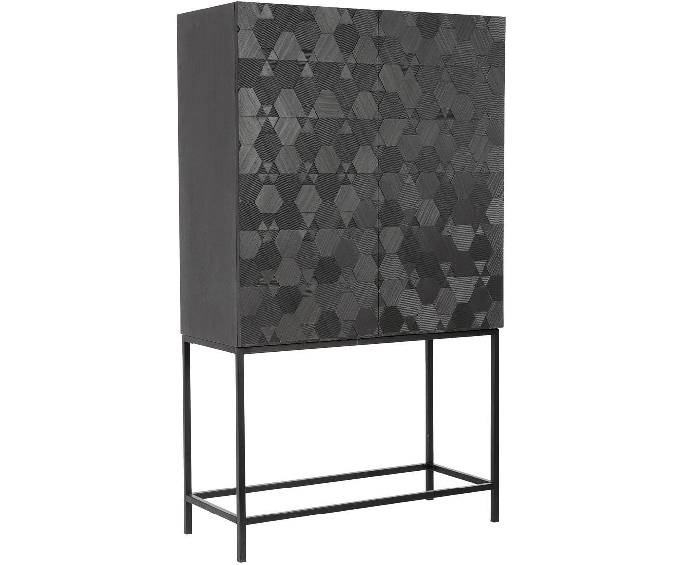 Chiffonier Aulialia, Estructura: madera de fresno, tablero, Patas: acero, Multicolor, An 90 x Al 155 cm