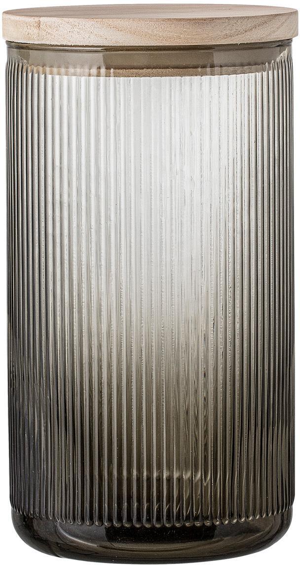 Glazen opbergpot Gianna met groefstructuur, Deksel: hout, siliconen, Grijs, houtkleurig, Ø 12 x H 22 cm