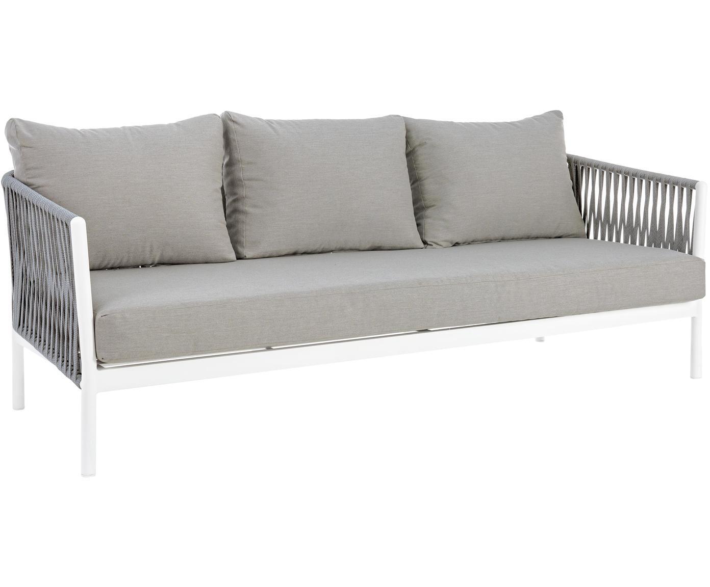 Outdoor bank Florencia (3-zits), Frame: gepoedercoat aluminium, Zitvlak: polyester, Grijs, wit, B 220 x D 85 cm