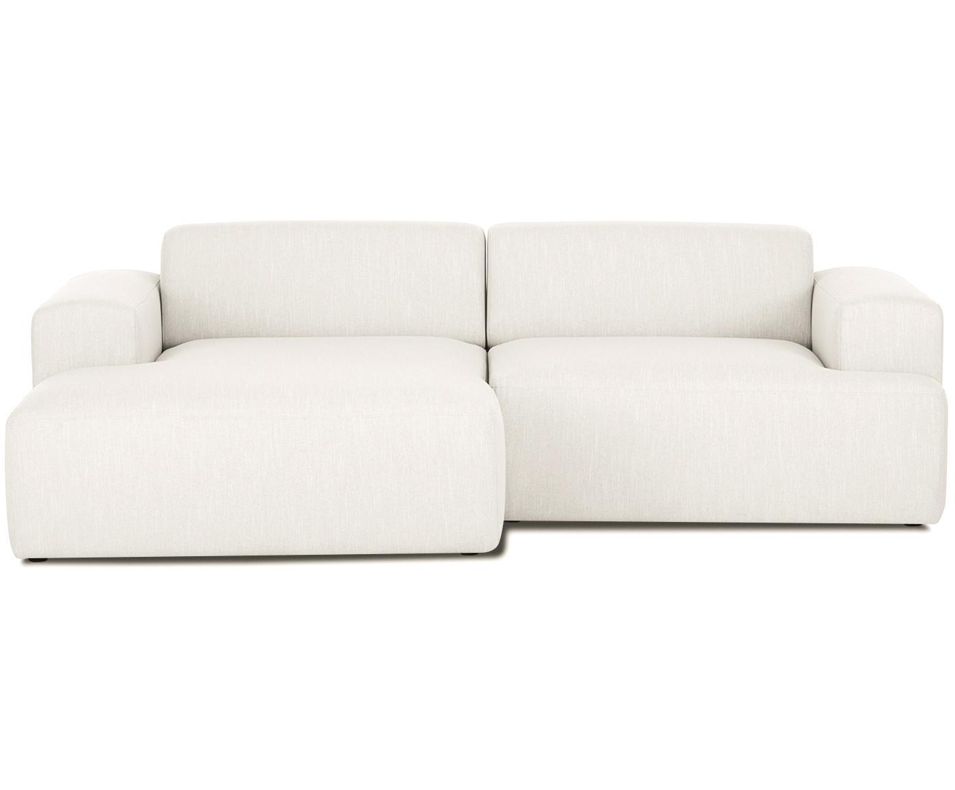 Ecksofa Melva (3-Sitzer), Bezug: Polyester Der hochwertige, Gestell: Massives Kiefernholz, Spa, Füße: Kiefernholz, Webstoff Beige, B 240 x T 144 cm