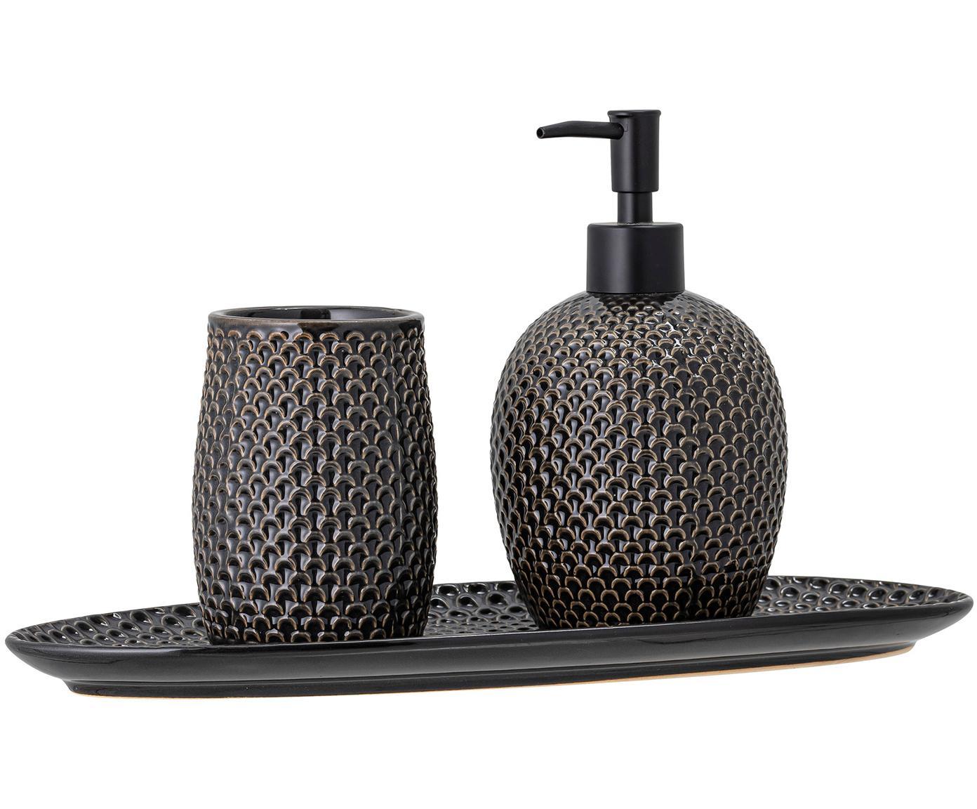 Ręcznie wykonany dozownik do mydła Gustav, Kamionka, polipropylen, Antracytowy, Różne rozmiary