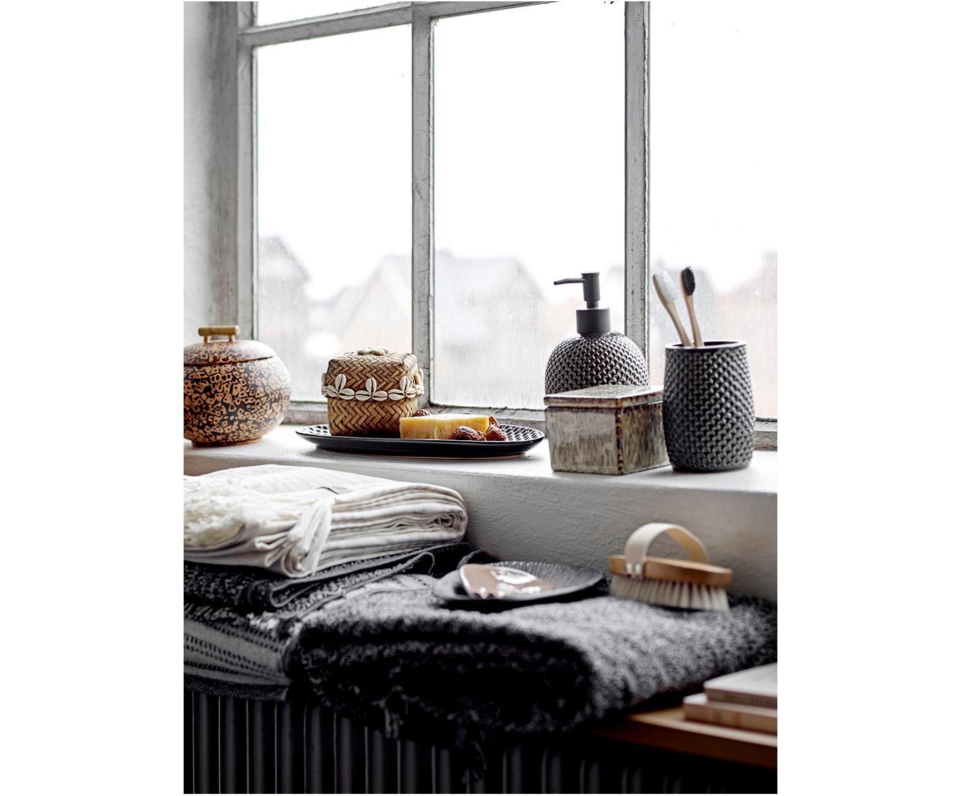 Set de baño artesanal Gustav, Gres, polipropileno, Antracita, Tamaños diferentes