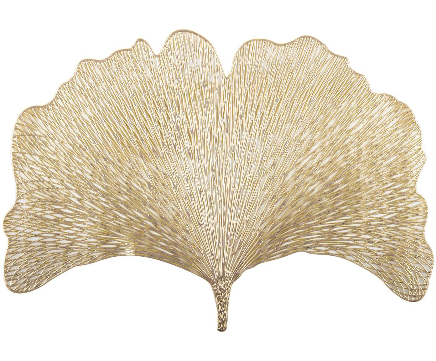 Goldene Tischsets Ginkgo in Blattform, 2 Stück, Kunststoff, Goldfarben, 30 x 44 cm
