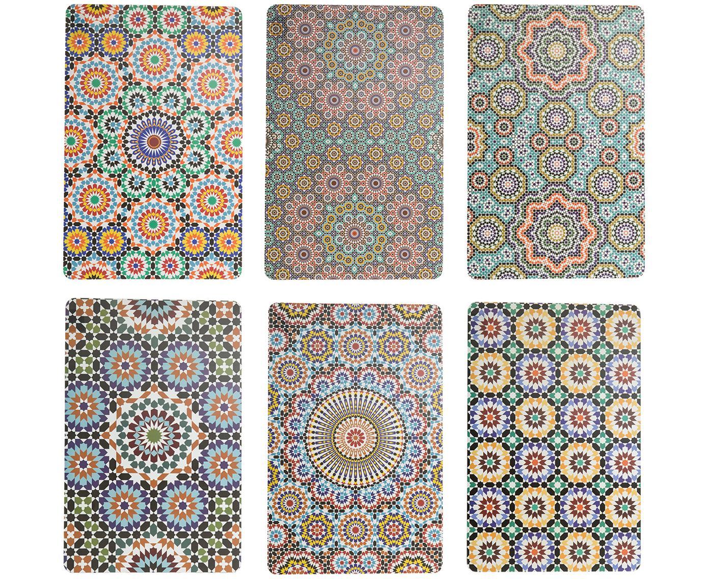 Kunststof placemats Marrakech, 6er set, Kunststof, Multicolour, 28 x 44 cm